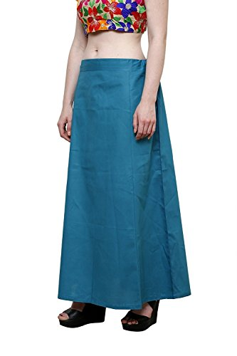 CRAFTSTRIBE Teal Blue Saree Petticoat Plain Inskirt Indian Sari Innerwear Underskirt Skirt