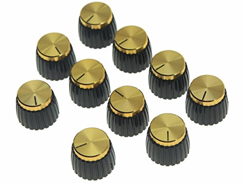 KAISH 10pcs Guitar AMP Amplifier Push on fit Knobs Black with Gold Aluminum Cap Top Fits 6mm diameter Pots Marshall Amplifiers (Knobs Amplifier)