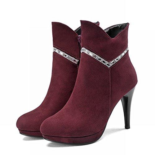 Charolbar Womens Moda Cerniera Piattaforma Strass Charms Grazia Alta Stivali Tacco A Spillo Stivali Vino Rosso