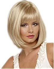 شعر مستعار قصير مصنوع من شعر اصطناعي للنساء بنمط مستقيم - لون ابيض