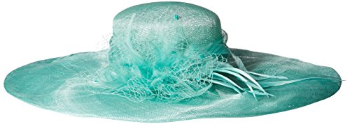 Scala Women's Solid Big Brim Sinamay Hat, Aqua, One Size by Scala