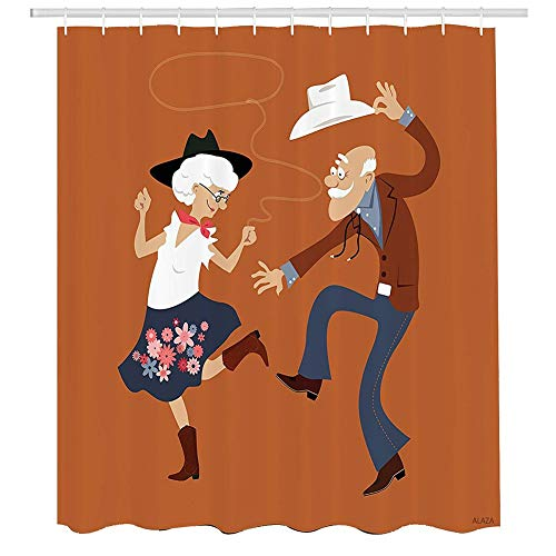 Zoe Diro Senior Old Couple Western Costumes Dancing Partying Square Dance Contradance Mildew Proof Polyester Fabric Waterproof Liner with Hook 60 x 72inch -