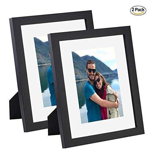 Picture Frame (2 Pack), 8x10, Made of Solid Wood, High Definition Glass, Table Top and Wall Mounting, Vertical and Horizontal, Black Color, Best Gift ()