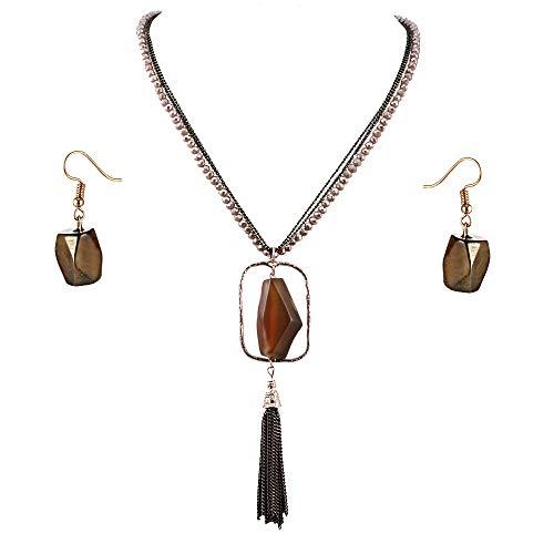 Lavencious Multi Strands Statement Necklace & Earrings Set with Semi Precious Stone Pendant for Women (Topaz)