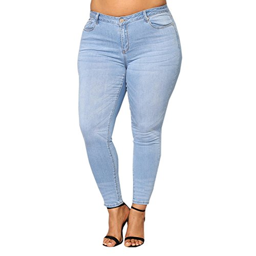 Xinantime Women Plus Size Jeans Loose High Waist Trousers Denim Skinny Jeans Pants Blue ()