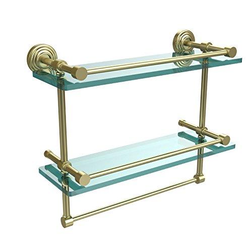 Allied Brass WP-2TB/16-GAL-SBR 16-Inch Gallery Double Glass Shelf with Towel Bar, Satin Brass