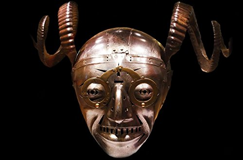 Quality Prints - Laminated 36x24 Vibrant Durable Photo Poster - Knight Helmet Scary Crazy Devil Haunted History Old Armor Protection War Museum Leeds England Halloween Background -