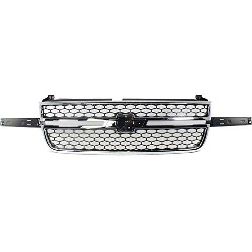 Evan-Fischer EVA17772032744 Grille for Chevrolet Silverado 1500 P/U 03-07 Honeycomb Plastic Chrome Shl/Textured Black Insert