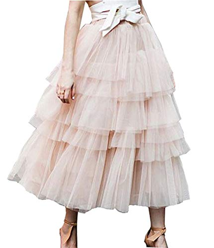 Boho Gypsy High Waisted Ruffles Long Maxi Tiered Skirt (Pink, S)