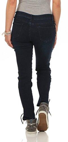 Jeans noir Fashion4Young 36 Bleu Femme Fonc Bleu UHZnqZ6d1