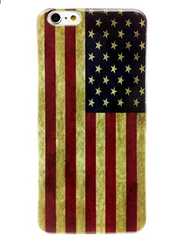 Apple iPhone 6 Plus and 6s Plus 5.5 inches Vintage American Flag Thin Flexible Soft Silicone TPU Case Shock Absorb Impact Protection Cover Quick Easy Install Snap On Off Perfect Fit Slim Lightweight