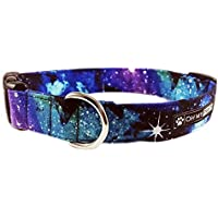Galaxy Print Collar for Pets Size Large 1 Inch and Wide 15-25 Inches Long - Hand Made Dog Collar