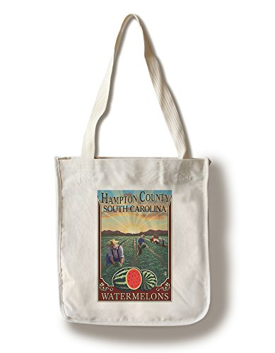 (Lantern Press Hampton County, South Carolina - Watermelon Field (100% Cotton Tote Bag - Reusable))