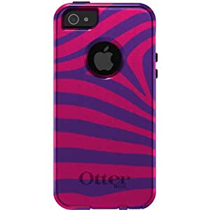 CUSTOM White OtterBox Commuter Series Case for Apple iPhone 5 / 5S - Purple Hot Pink Zebra Skin Stripes