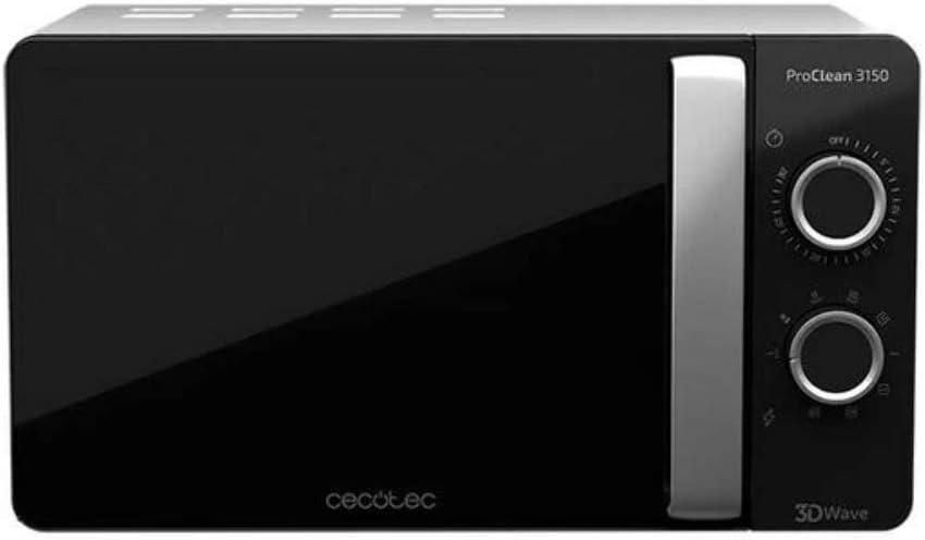 Cecotec Microondas con Grill ProClean 3150. Capacidad de 20l, Revestimiento Ready2Clean, 700 W de Potencia, 6 Niveles Funcionamiento, Temporizador 30 min, Modo Descongelar, Acabado Negro y Silver