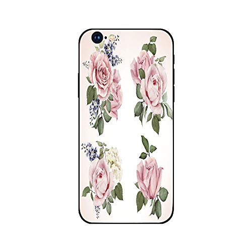 Phone Case Compatible with iphone6 iphone6s mobile phone covers phone shell Brandnew Tempered Glass Backplane,Rose,Springtime Set of Bouquets of Roses Bridal Flora Corsage Gentle Nature Decorative,Pal