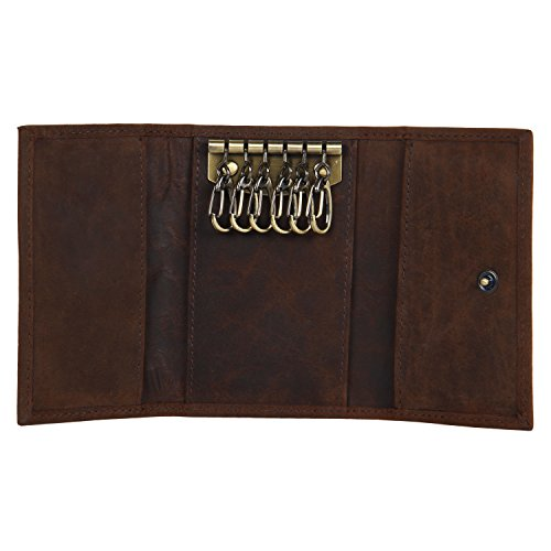 Slim Compact Leather Key Holder Wallet Pouch Gifts Him Her Men Women (Brown)