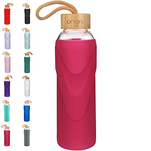 Magenta Water - ORIGIN Best BPA-Free Glass Water Bottle with Protective Silicone Sleeve and Bamboo Lid - Dishwasher Safe (Magenta, 32 oz)