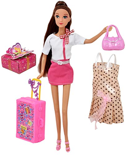 Doll Travel Play Set, Includes 12 Inch Flight Attendant Fashion Doll, Luggage Accessories, Traveling Suitcase, 2 Outfits, Purse and Gift Box