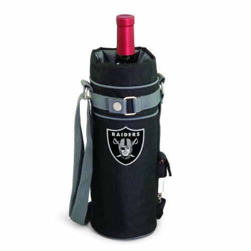 NFL Oakland Raiders Insulated Single Bottle Wine Sack with Corkscrew