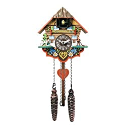 River City Clocks Musical Multi-Colored Quartz Cuckoo Clock - 8 Inches Tall - Model # M8-08PQ