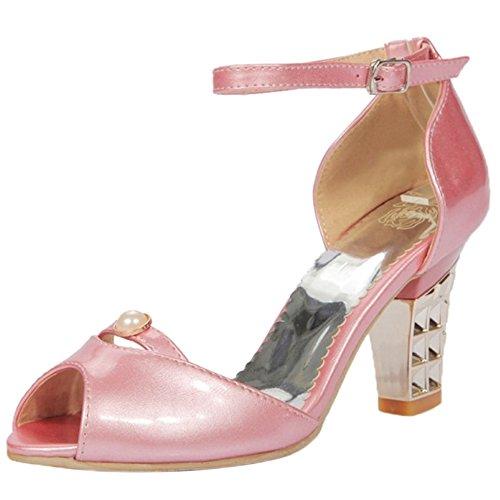 Sandales Femmes Bloc Peep Toe VulusValas Pink ZTqIqd