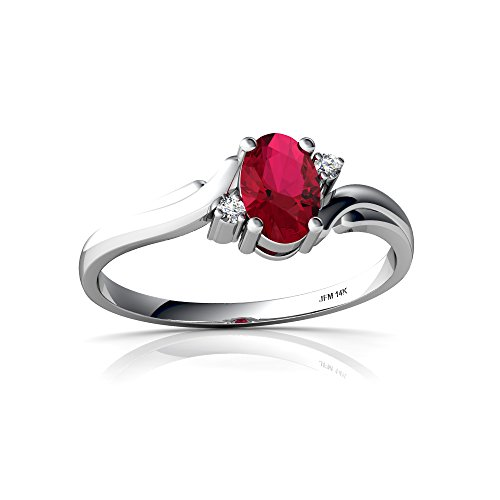 (14kt White Gold Lab Ruby and Diamond 6x4mm Oval Swirls Ring - Size 9)