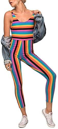 Vamvie Womens Rainbow Stripes Unitard Jumpsuit Playsuit Colorful Grunge Hipster Rpmper ()
