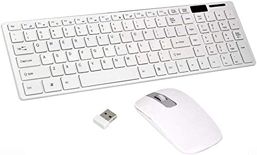 E10 Star Wireless 2.4GHz Keyboard & Mouse Combo Kit   Ultra Thin Fashion Slim USB Bluetooth Receiver for PC Tablet Android TV Laptop Smart TV Compatible with All Windows (White)