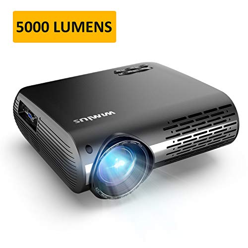 "Projector, WiMiUS P20 Native 1080P LED Projector, 5000 Lux Movie Projector Support 4K Video 300"" Display ±50°Digital Keystone Correction 70,000 Hrs for Home Entertainment & PPT Business Presentation"