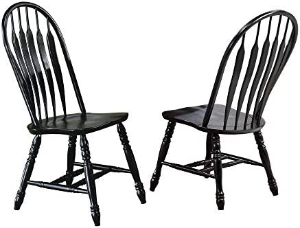 Sunset Trading Comfort Back Dining Chair, Set of 2, 41 , Antique Black