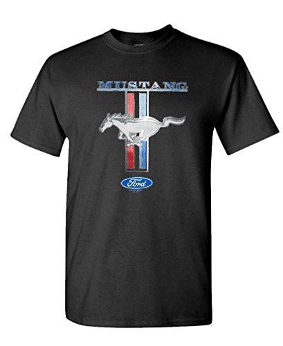 - Ford Mustang Pony Stripe - Cobra Race car Tee Shirt T-Shirt, L, Black