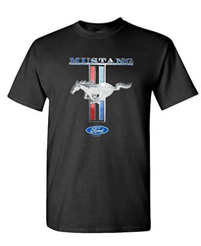 Mustang Black Shirt (GOODER TEES - FORD MUSTANG PONY STRIPE - Mens Cotton T-Shirt, M, Black)