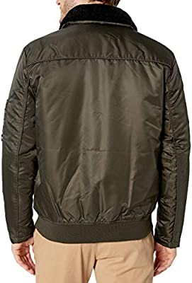 Kenneth Cole New York Mens Aviator Jacket with Removable Faux Sherpa Collar