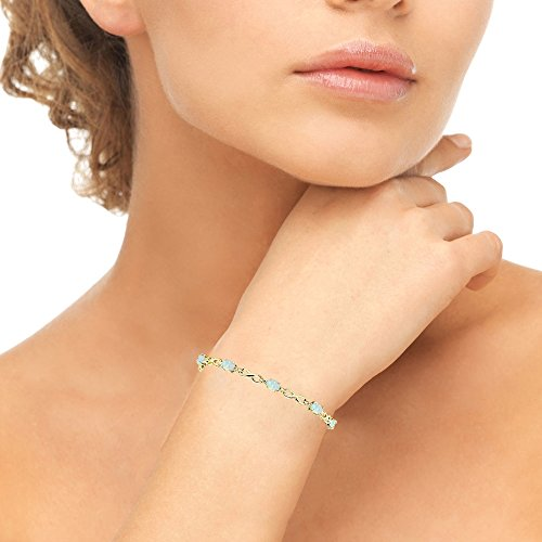 Yellow Gold Flashed Sterling Silver Simulated White Opal Oval Polished Infinity Classic Tennis Bracelet by GemStar USA (Image #2)