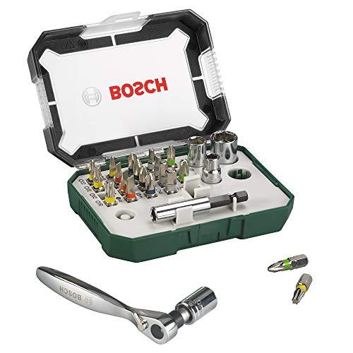 Bosch 2607017322 Puntas de destornillador + trinquete (juego de 26)