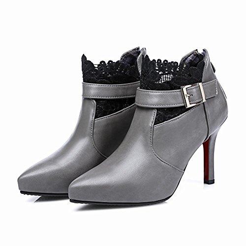 MissSaSa Damen High-heel Pointed Toe Knöchelriemchen Ankle-Boots mit Reißverschluss und Stiletto Grau