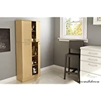 Elegant Tall 4-Door Storage Pantry with 3 Adjustable Shelves in 2 Separated Storage Spaces, Made from Non-Toxic Laminated Particleboard, Maple + Expert Home Guide by Love US