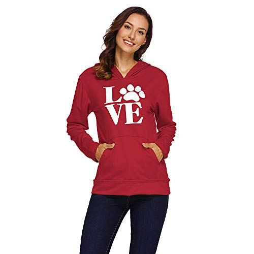 HHei_K Womens Casual Footprint Letter Print Long Sleeve Drawstring Hoodie Sweatshirt Loose Kangaroo Pouch Hooded Blouse