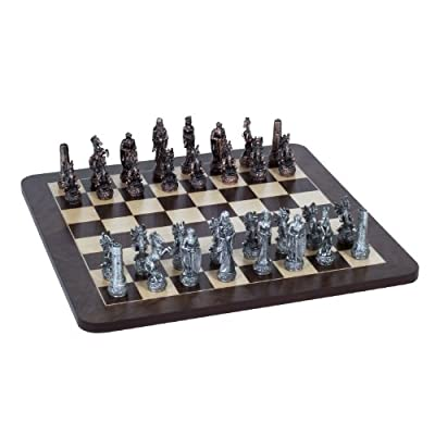 WE Games Fantasy Chess Set - Pewter Pieces & Walnut Root Board 16 in.