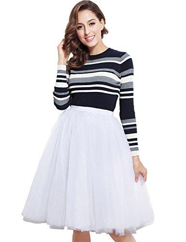 Belle-House-Womens-A-Line-Short-Knee-Length-Tutu-Tulle-Prom-Party-Elastic-Skirt