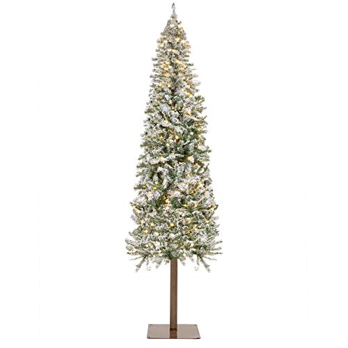 Best Choice Products 6ft Pre-Lit Snow Flocked Hinged Artificial Alpine Slim Pencil Christmas Tree Holiday Decoration w/ 250 LED Lights, 700 Tips, Metal Stand (Black Christmas Tree Upside Down)