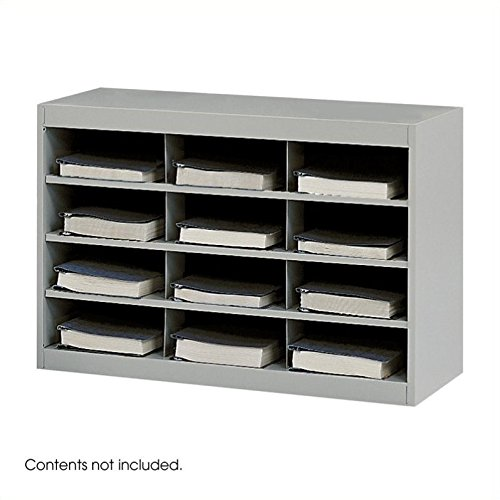 Scranton & Co Grey Steel Mail Organizer - 12 Compartments