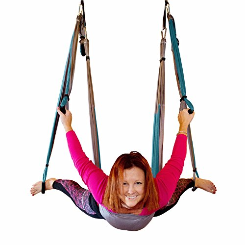 Aerial Yoga Swing Gym Strength Antigravity Yoga Hammock Inversion Trapeze Sling Equipment with Two Extender Hanging Straps Blue Pink Grey Swings & Beginner Instructions Guide