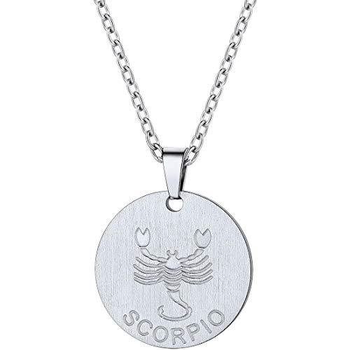(PROSTEEL Scorpio Zodiac Star Sign Coin Necklace Stainless Steel Constellation Horoscope Pendant Men Women Jewelry Birthday Gift)