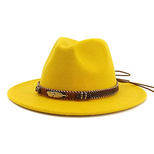Vim Tree Men Women Ethnic Felt Fedora Hat Wide Brim Panama Hats with Band (Yellow, L (Head Circumference ()