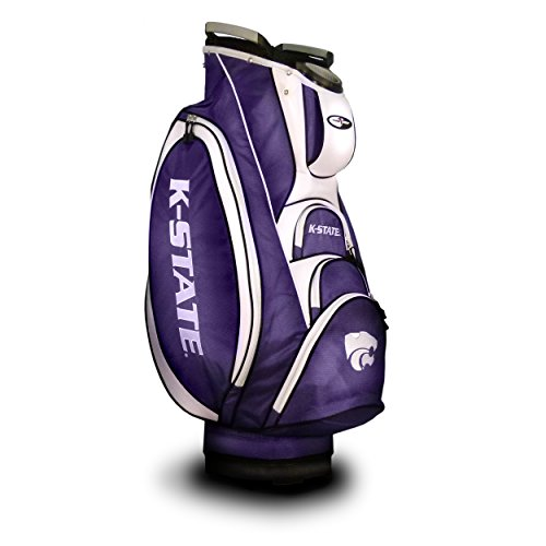 Team Golf NCAA Kansas State Wildcats Victory Golf Cart Bag, 10-way Top with Integrated Dual Handle & External Putter Well, Cooler Pocket, Padded Strap, Umbrella Holder & Removable Rain Hood
