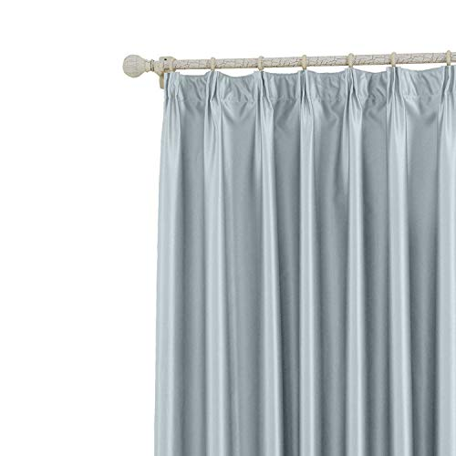 (COFTY Classic Solid Thermal Insulated Blackout Curtain Panel Drapes Sky Blue - 72Wx84L Inch (1 Panel) - Pinch Pleat Top - for Bedroom | Living Room | Club | Restaurant)