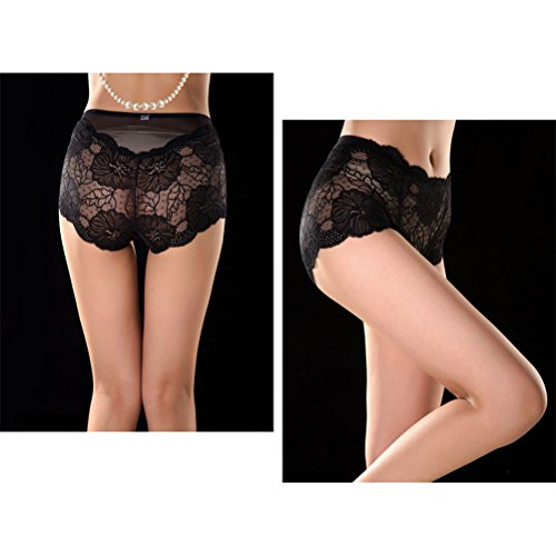 Zhhlinyuan Alta calidad Casual Ladies Hipster Panty Hollow Lace Skin-friendly Transparent Underwear Lingerie High Waist Multicolor Dark Green