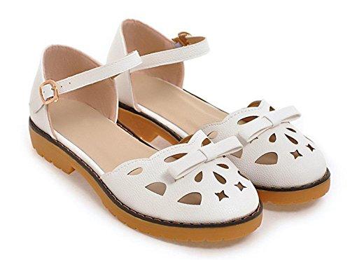 Baotou sandalias de las mujeres señoras de la manera sandalias de verano y zapatillas White